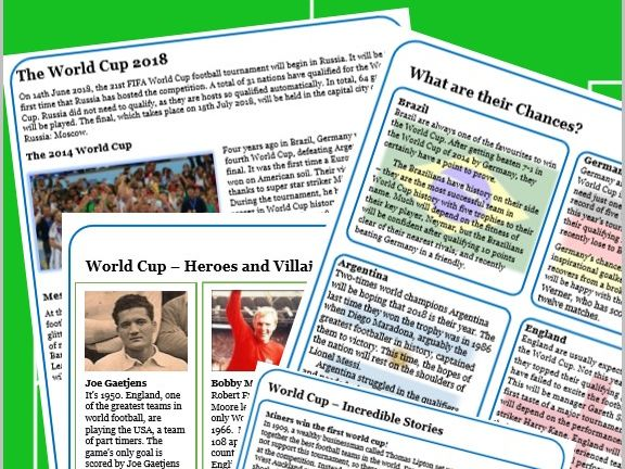 2018 World Cup - FIVE Reading activities