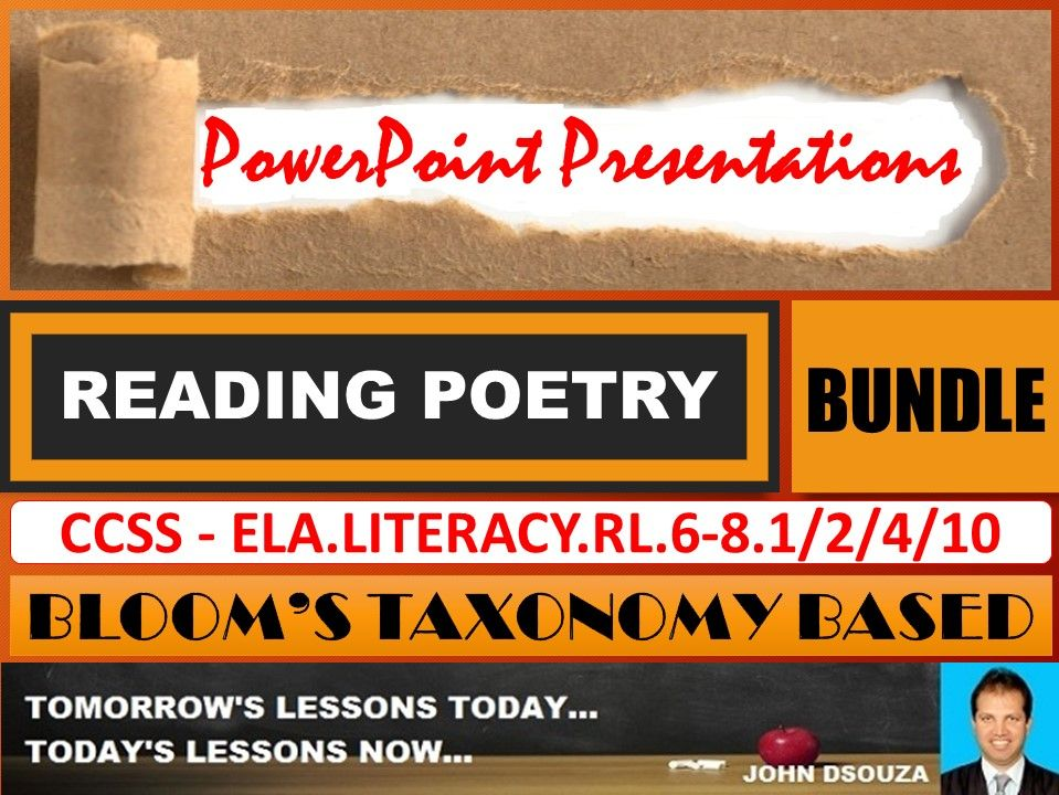 READING POETRY: BLOOM'S TAXONOMY BASED PPT PRESENTATIONS - BUNDLE