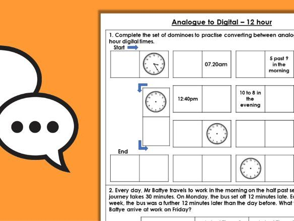 Year 4 Analogue to Digital - 12 Hour Summer Block 3 Maths Discussion Problems