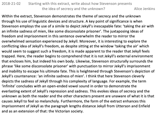 GCSE Dr Jekyll and Mr Hyde Level 9 Exemplar Essay Secrecy and the Unknown