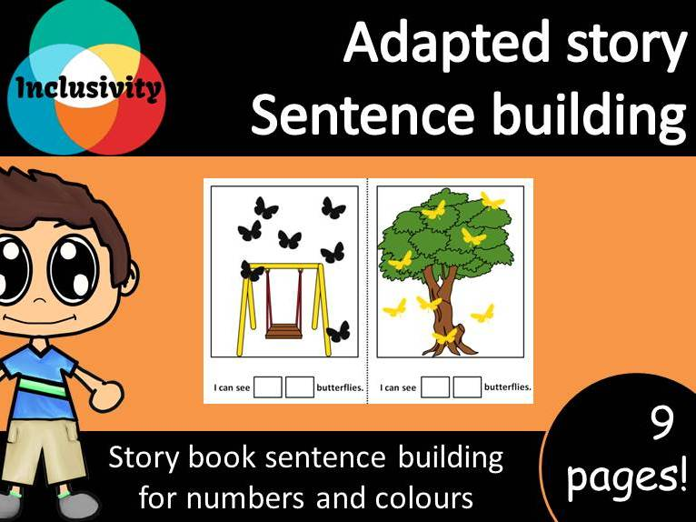 Adapted special needs Story sentence building colours and counting numbers 1-10; Sample