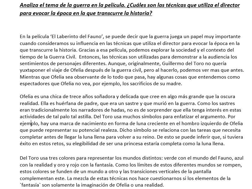 A level Spanish - El Laberinto del Fauno Set of Exemplar Essays