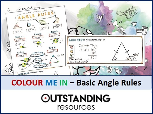 Geometry: Colour Me In Sheets (Doodle Notes) - ANGLE RULES