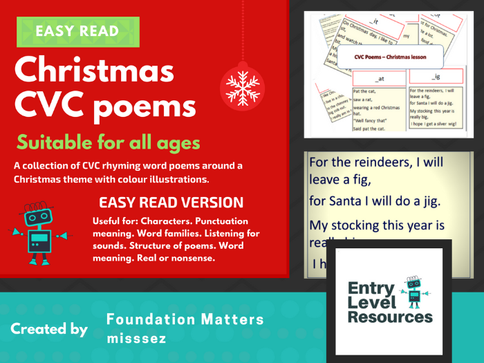 Easy read - Christmas CVC poems