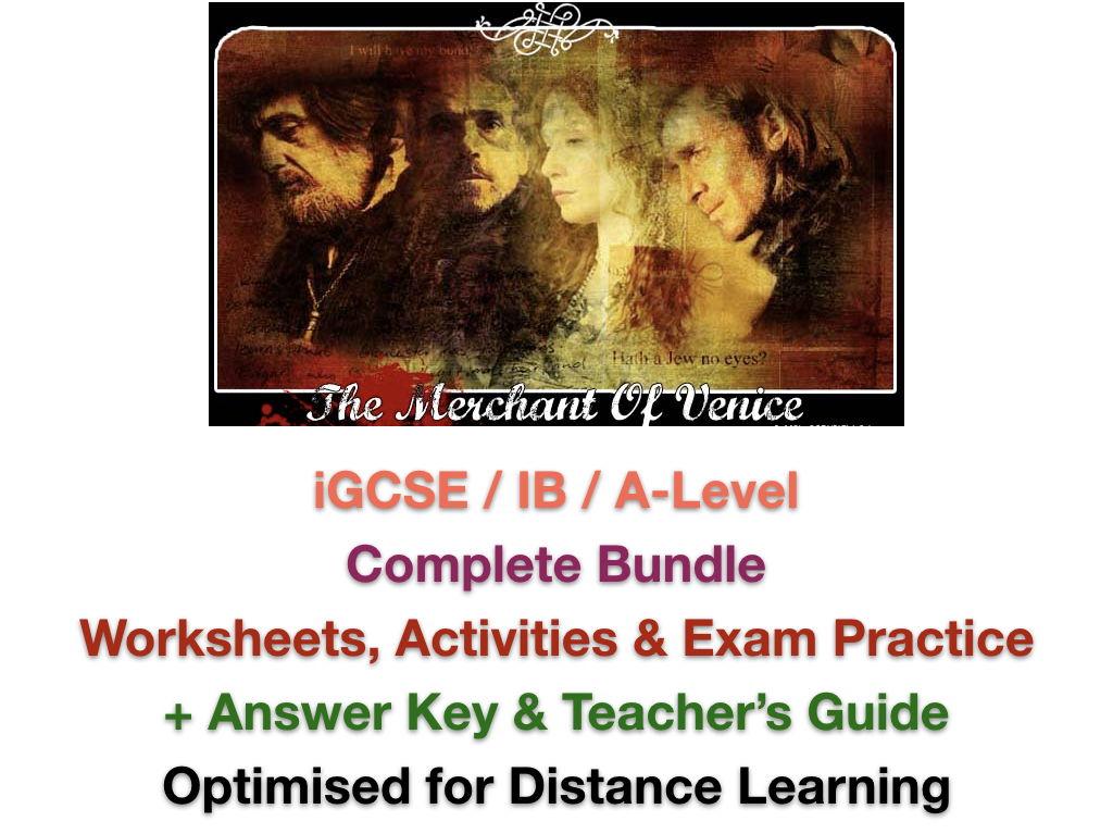 The Merchant of Venice ADVANCED TEACHING + EXAM PREP BUNDLE + ANSWERS