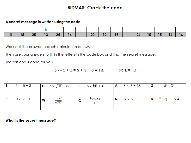 BIDMAS crack the code Worksheet with Soultions - Edexcel KS3