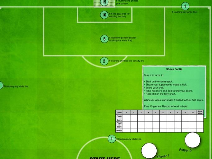 Shove Footie - A Maths Football Game for 2 Players