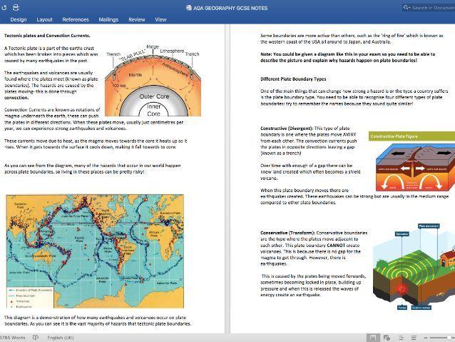 AQA GEOGRAPHY GCSE NOTES HAZARDS (TOPIC 1)
