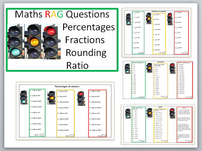 GCSE Maths/Functional Skills. RAG questions. Percentages, Fractions, Rounding and Ratio
