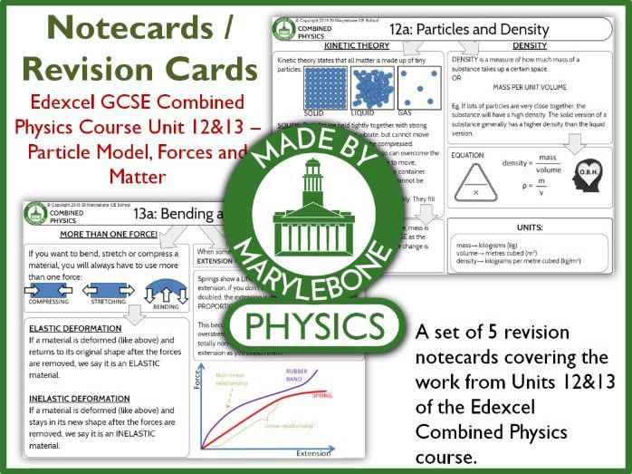 Edexcel GCSE 9-1 Combined Physics P12&13 Notecards (Revision Cards) - Particles, Forces and Matter