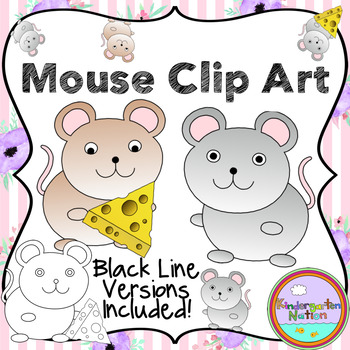 Mouse Clip Art ~ Transparent .PNG Images ~ Black Line Versions Included