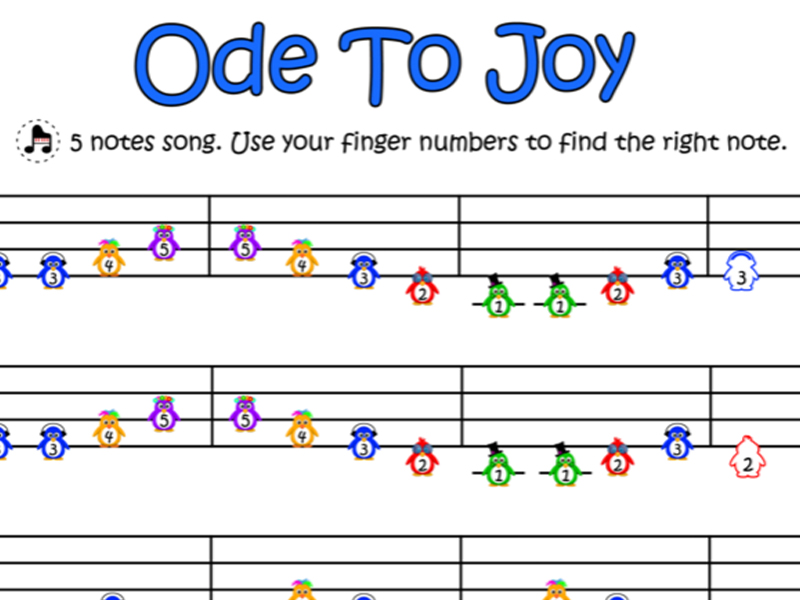 Ode To Joy - Easy Piano Score (Penguins on Stave)