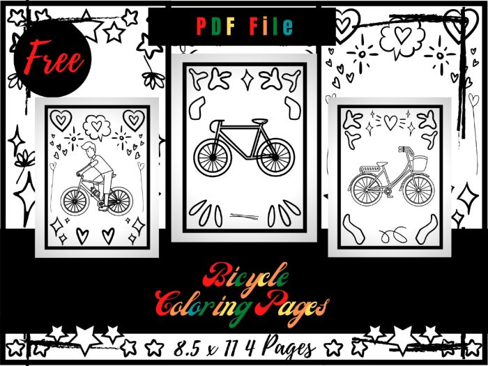 FREE Bicycles Colouring Pages For Kids, Free Colouring Sheets PDF