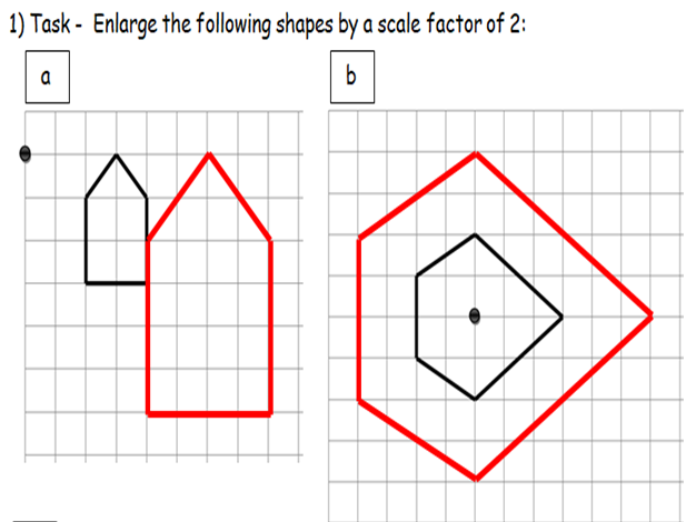 KS3 ENLARGEMENTS BY SCALE FACTORS OF 2,3,4,0.5,1.5, 2.5, 0.25, 3/4, 1/3 AND 2/3. WORD, PDF & ANSWERS