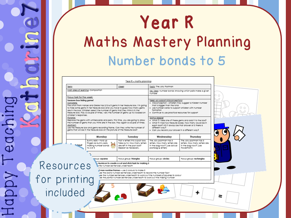 Maths mastery for Early Years - number bonds to 5 - with resources