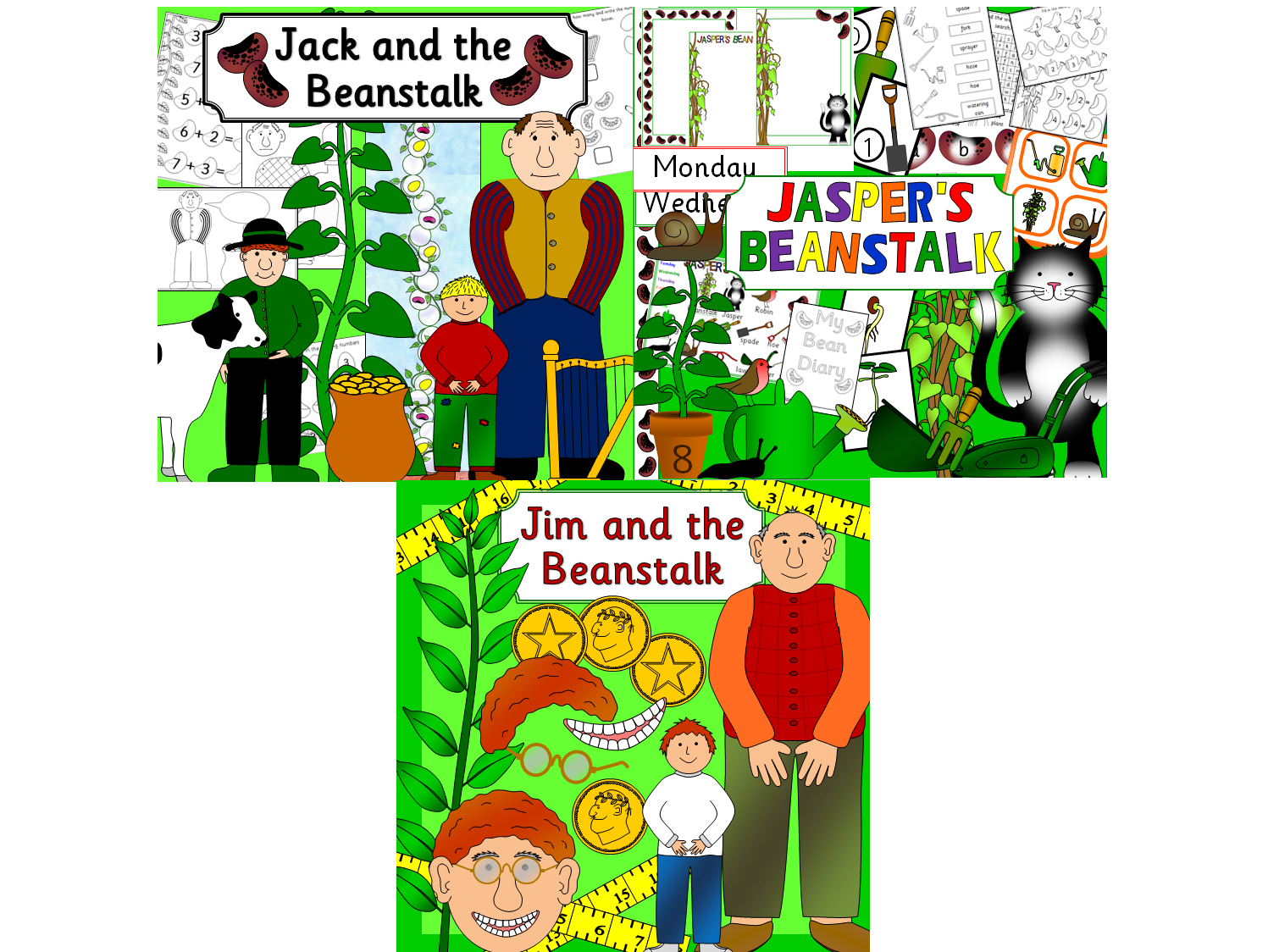 Growing beanstalk story resources - Jack and the Beanstalk, Jasper's Beanstalk, Jim and the Beanstalk