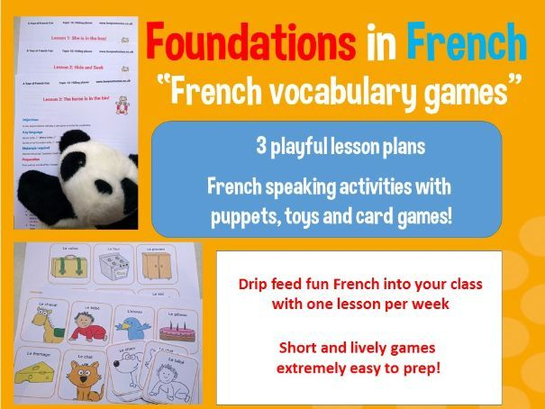 French vocabulary games - 3 lesson plan bundle