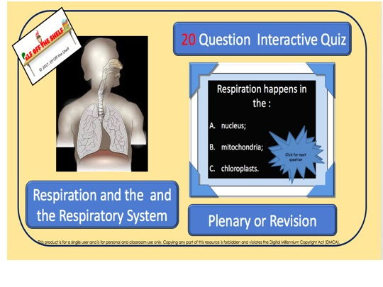 Respiration KS4 - 20 Question Interactive, Quiz -Revision/Plenary