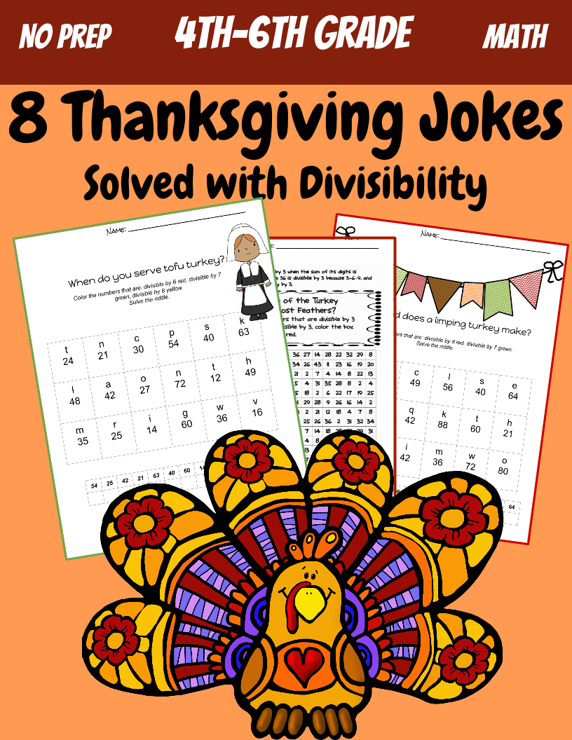 5th Grade Math Division And Divisibility Thanksgiving Jokes Teaching Resources