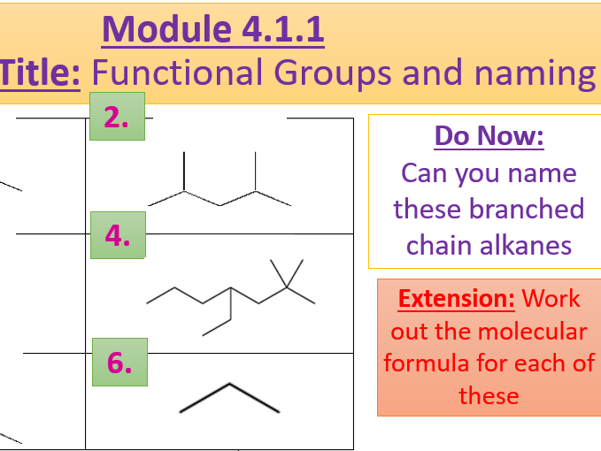 A Level Chemistry OCR A- 4.1.1 Lesson 3- Different Functional Groups