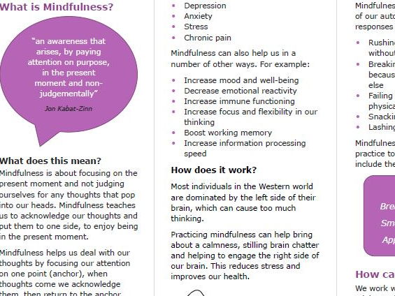 Mindfulness Information Leaflet for Parents/Carers