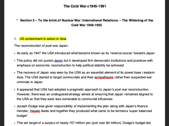 Cold War Summary notes 1945-1991 - AQA A Level History section 2