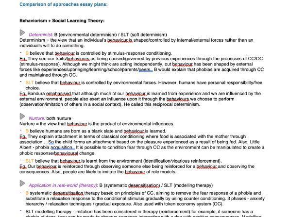 Comparison of Approaches Essay Plans (AQA Psychology A-Level)