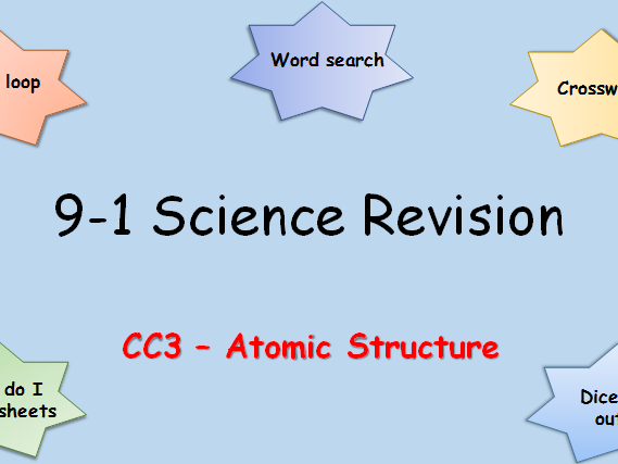 Edexcel CC3 Atomic structure Revision pack Science 9-1