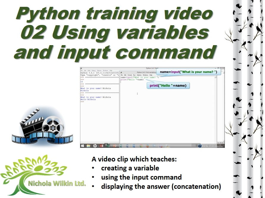 Python training video - 02 Variables and inputs