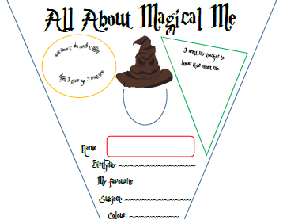 Harry Potter themed All about Magical Me Bunting for Transition Day