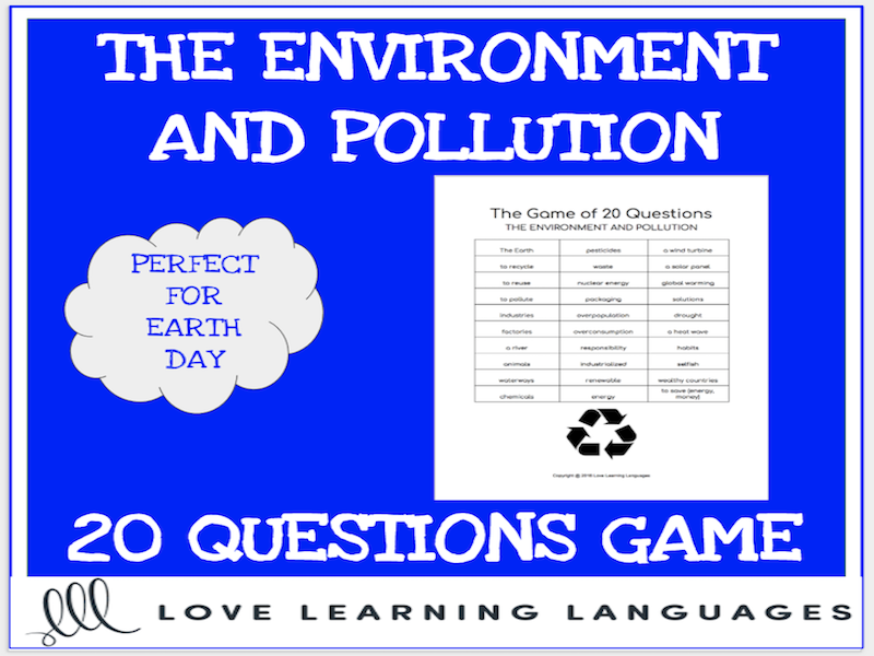 The environment - 20 questions game - Earth Day - No prep speaking activity