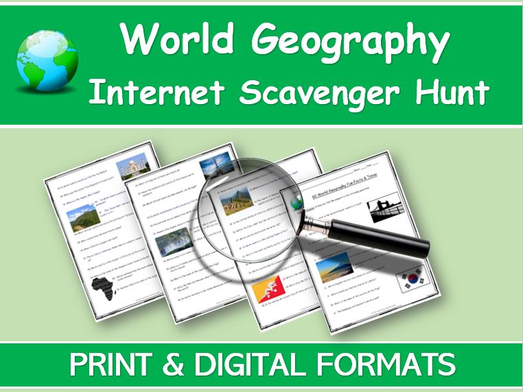 WORLD GEOGRAPHY INTERNET SCAVENGER HUNT