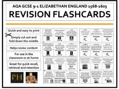 Elizabethan England Revision Flashcards AQA GCSE 9-1