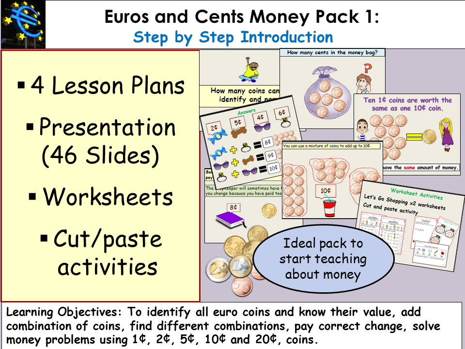 Money: Euros and Cents Presentation, Lesson Plans, Worksheets/Cut&Paste  Pack 1