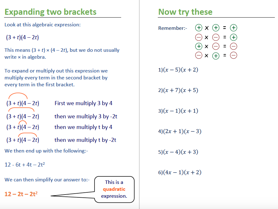 Simplifying, Brackets and Factorising