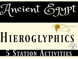 Ancient Egypt Hieroglyphics and the Rosetta Stone Station Activities