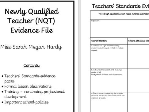 NQT File Templates: Teachers' Standards, front cover, lesson observation form and meetings record.