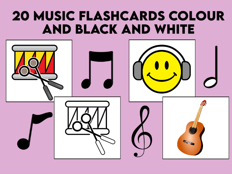 20 Music Flashcards Colour and Black and White