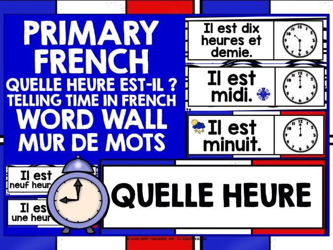 PRIMARY FRENCH TELLING TIME WORD WALL #1
