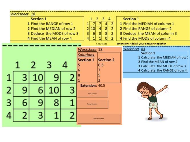 KS3 Mean, Median, Range and Mode from a grid, 8 questions, 3 sets of questions fit on a side
