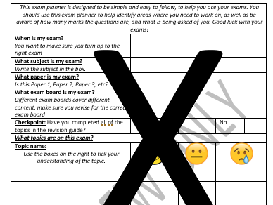 Student Exam Planner (with topic list, and handy checklist)