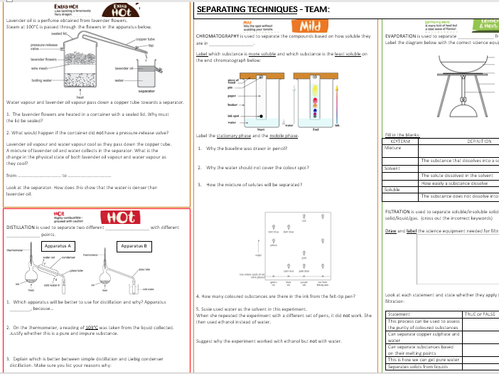 Separation Techniques Differentiated Learning Mat (Year 7)