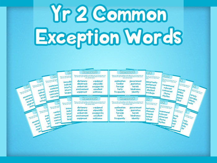 Year 2 Common Exception Words Homework