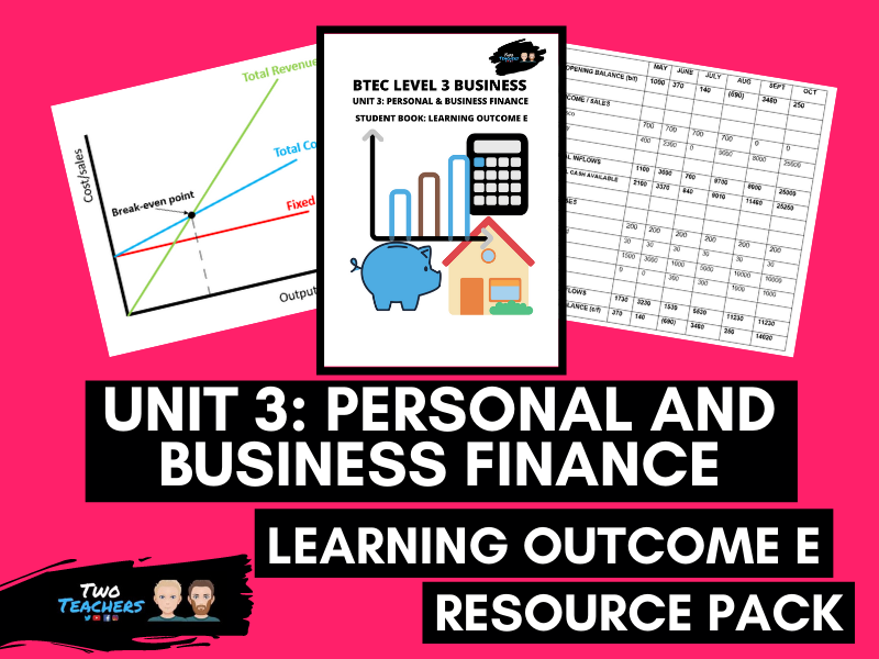 BTEC Business Unit 3: Personal and Business Finance Outcome E | PowerPoint & Student Workbook
