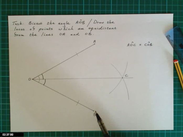 Video describing how to bisect an angle / draw locus of points equidistant from two lines.