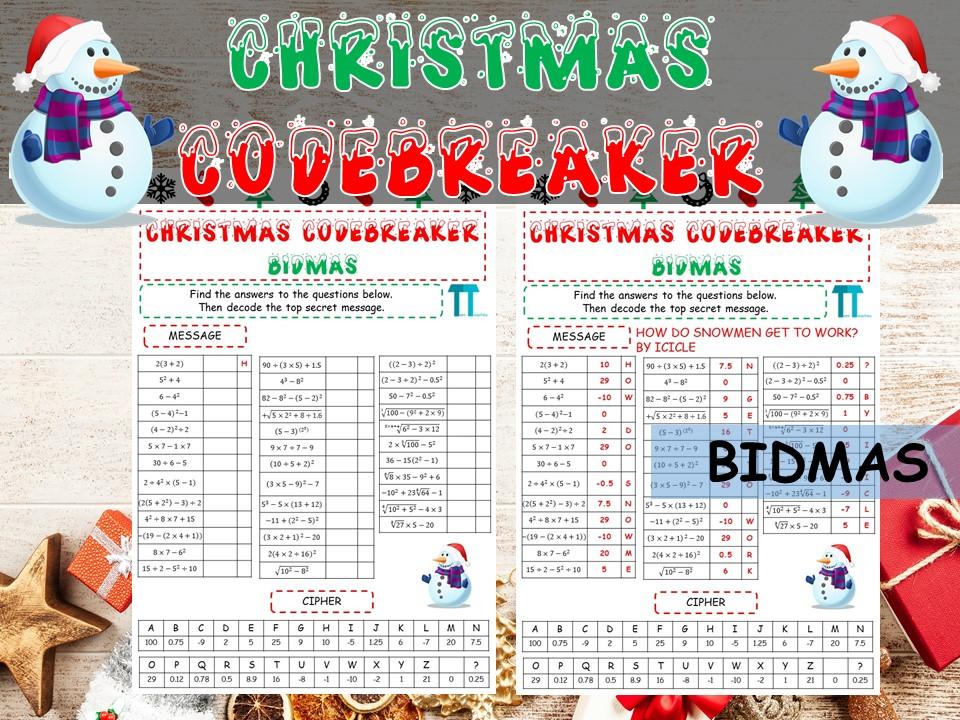 Christmas maths Codebreaker on bidmas / order of operations