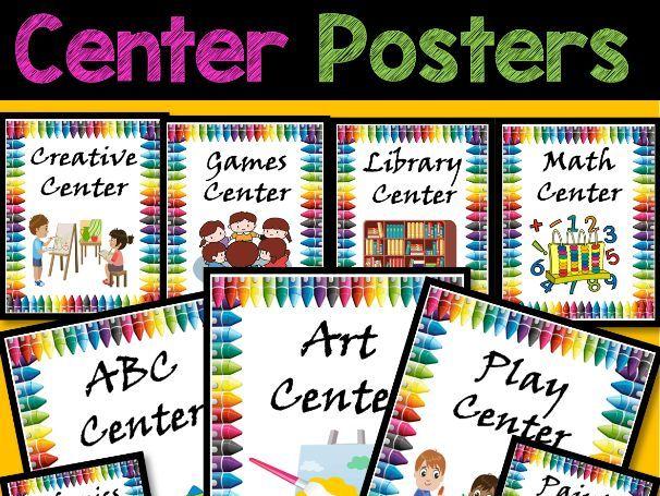 Center Signs for Preschool, Pre-K, and Kindergarten - Editable PowerPoint