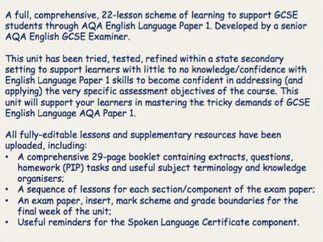Full Scheme of Learning - AQA English Language Paper 1 GCSE