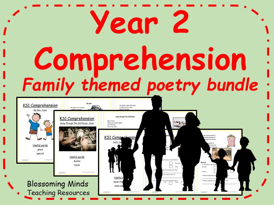 Year 2 poetry comprehension bundle - Family theme
