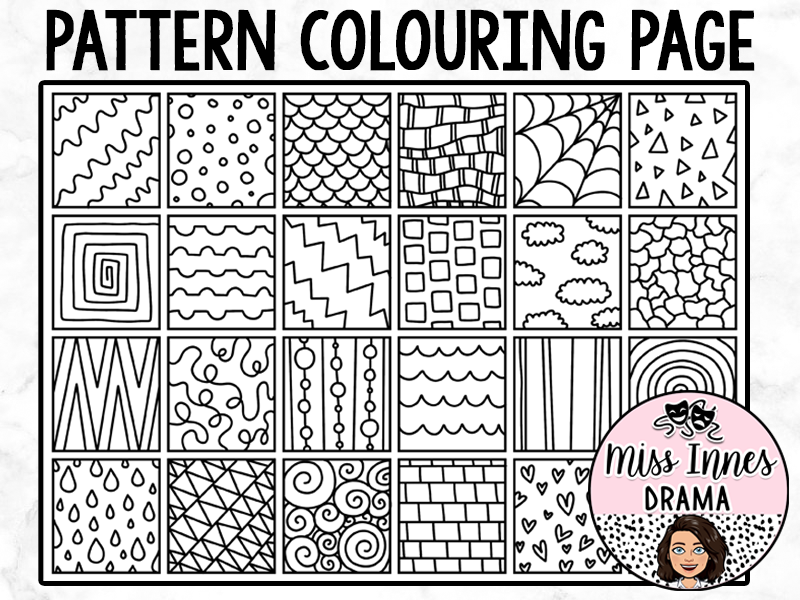 Pattern Squares Colouring Page